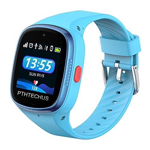 PTHTECHUS 4G Kinder Smartwatch Telefon - WiFi GPS Tracker Jungen Mädchen Wasserdichte Touchscreen Uhr mit MP3 Anruf Voice Video Chat Schrittzähler Fitness Tracker Wecker Kamera Uhr (4G-Blau)