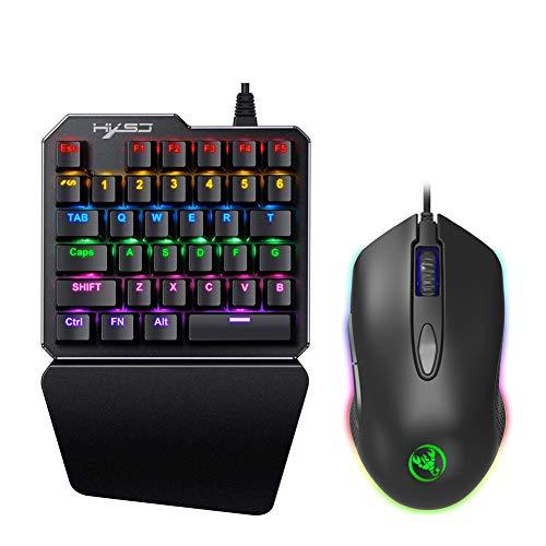LYHLYH Einhändig Mechanical Gaming Keyboard RGB LED Backlit, 35 Tasten, Schnell Responsive Gaming-Tastatur mit Handgelenkauflage, für LOL/PUBG für Mac/Fenster/PC Gamer