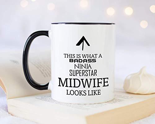 Taza de café con texto en inglés 'This is What A Badass Midwife Looks Like 12 oz', idea de regalo para embarazo, enfermera, parto de bebé, hospital, partera MG0642