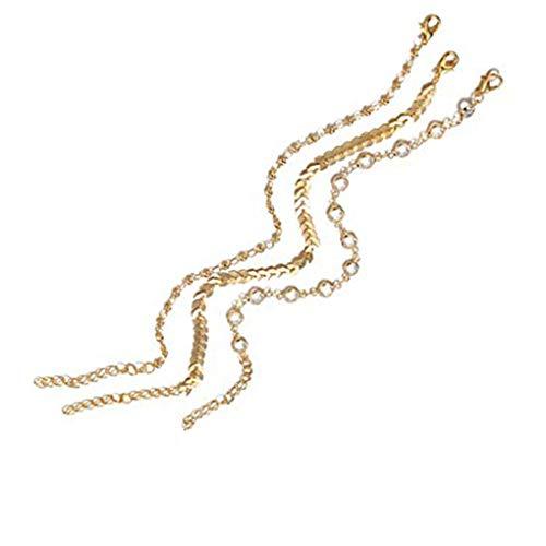 Boburyl Multi cristalino del Oro Muchachas de Las Mujeres Capa de Tobillo de la Cadena borlas Pies Band Pulsera Tobillera Accesorios de decoración para joyería