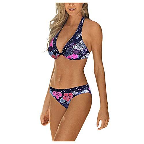 Janly Liquidación Venta Traje de baño de dos piezas, Bikini de estampado floral para mujer Natación Traje de baño de dos piezas traje de baño, ropa de playa de verano (Rosa/XL)