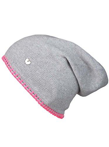Cashmere Dreams Slouch-Beanie-Mütze mit Kaschmir - Hochwertige Strickmütze für Damen Mädchen - Herz - Heckel-Rand - One Size - warm und weich im Sommer Herbst und Winter Zwillingsherz (HGR/pink)