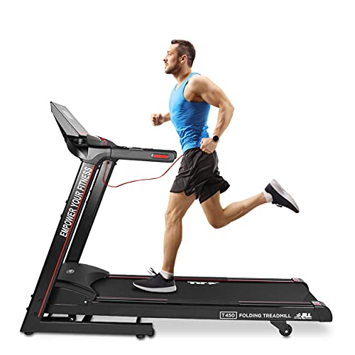 JLL T450 Digital Folding Treadmill, New Generation Digital Control 4.5HP Motor, 20 Incline Levels,0.3km/h to 18km/h, 20 Programmes, Bluetooth & Speakers, 2-Year Parts&Labor,5-Year Motor Cover