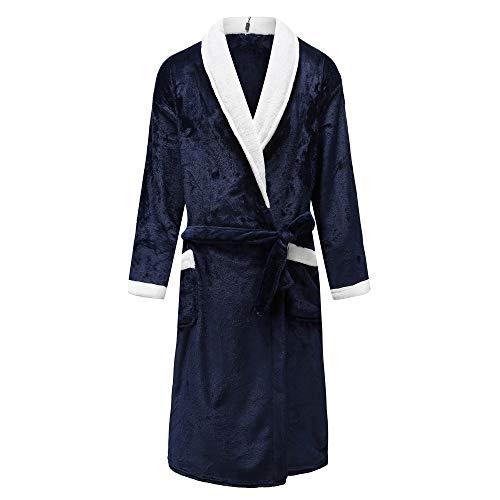 YUHUALI Large Size 3XL Für Männer & Frauen Startseite Kleidung Einfarbig Kimono Bademantel Kleid Coral Fleece Startseite Bademantel V-Ausschnitt Nachtwäsche Blau XXL