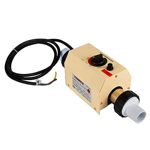 FlowerW 2KW Schwimmbadheizung Elektro 220V Spa Elektroheizung Thermostat Schwimmbad Wärmepumpe(50mm)