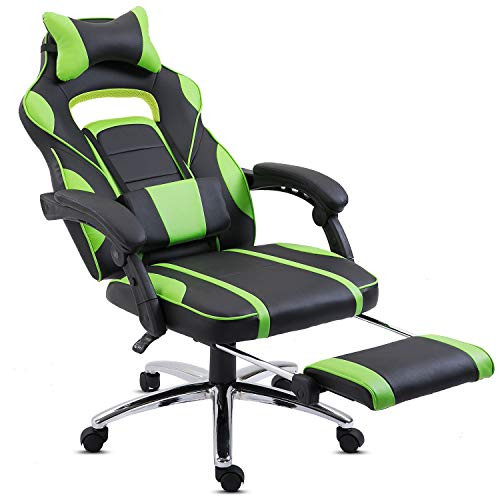Hadwin Gaming Chair Office Desk Chair Racing Chair Reclining Leather Computer Chair Swivel Office Chair with Footrest, Adjustable Headrest and Lumbar Support, Green