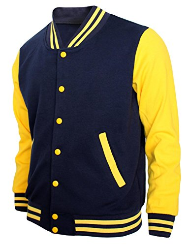BCPOLO Baseball Jacket Varsity Baseball Cotton Jacket Letterman Jacket 8 Colors-N-Y XL Navy-Yellow