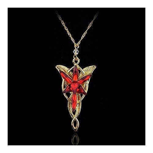 Cruzar Moda clásico crepuscular de la Estrella Collar Gargantilla Cadena de Cristal de Roca del Punk Collar (Length : 50cm, Metal Color : Red)
