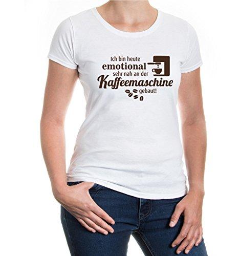 """buXsbaum® Damska koszulka z krótkim rękawem Girlie z nadrukiem """"Ich Bin Dziś emotional bardzo blisko do ekspresu do kawy   sentencje śmieszna koszulka"""