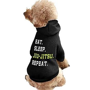 Eat Sleep Jiu-Jitsu RepeatPet Dog Hoodie Sweatshirt - Puppy Cat Coats Sweaters for Small Medium Dogs Indoor Outdoor