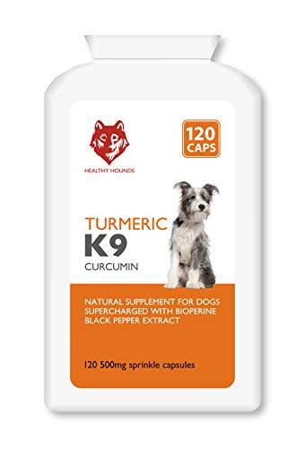 Healthy Hounds K9 Turmeric for Dogs and Pets 120 x 500mg Sprinkle Capsules | 100% Natural Curcumin Rich Turmeric with Bioperine Black Pepper Extract | Joint Care Supplement & Antioxidant | UK Made |
