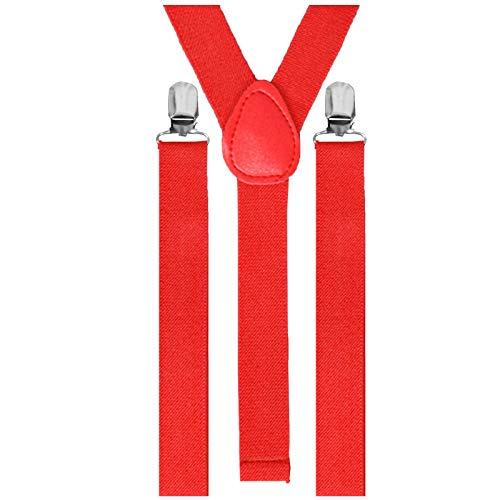 Adjustable Braces Unisexe adultes fin BRETELLES NÉON à clipser pantalon déguisement - Rouge, Taille Unique