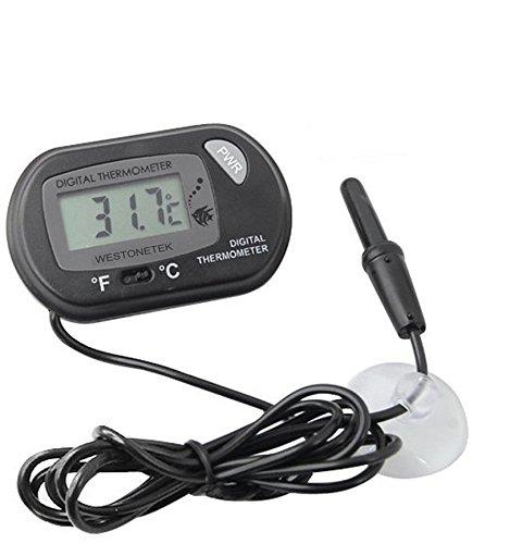 Termometro digitale LCD con Ventosa per sonda cavo Fish Tank Acqua Acquario Vivarium, colore: nero