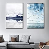 Cuadro en lienzo abstracto azul marino con nubes blancas, póster con estampado de gaviotas, cuadros artísticos de pared para la decoración del hogar de la sala de estar, 50x70cm x2 con marco