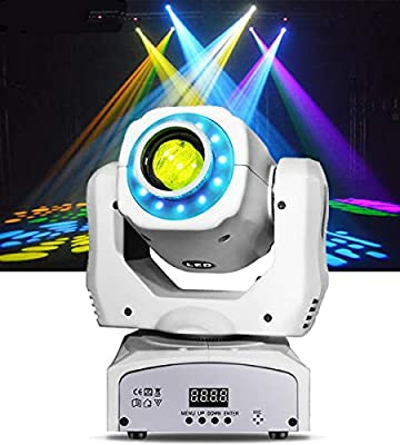 Moving Head Spot Light 85W Led Stage Lighting RGBW Kaleidoscope With 15 Gobos Patterns Wash Lights By Sound Activated DMX 512 Control 9/11Ch For Wedding Concert Dj Disco Party Show (1-white) …