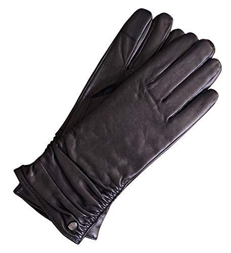 AKAROA ESTD 2019 Lederhandschuhe Damen BEA, italienisches Haarschafleder, Touchfunktion, Strickfutter aus 50% Kaschmir und 50% Wolle, schwarz M