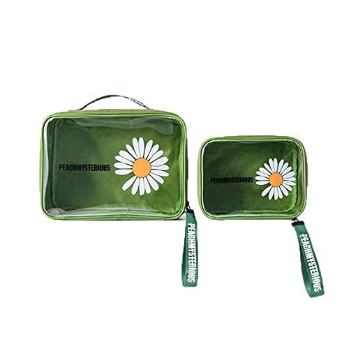 2 Piezas Neceser Transparente Bolsa de Maquillaje Portátil Bolsa de Cosméticos de Viaje PVC Impermeable Bolsa para Lavar Bolsa Organizador de Maquillaje para Mujer y Niñas (Grande+Pequeño/Verde)