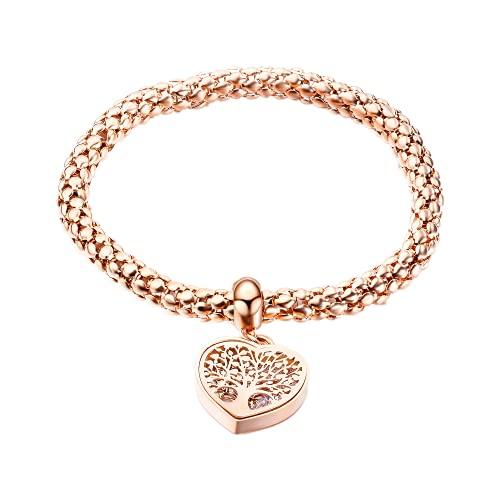 Pulsera de acero inoxidable con colgante de corazón de diseño clásico ahueca hacia fuera el árbol de la vida con incrustaciones de Zircon Lady Lucky Bracelet,