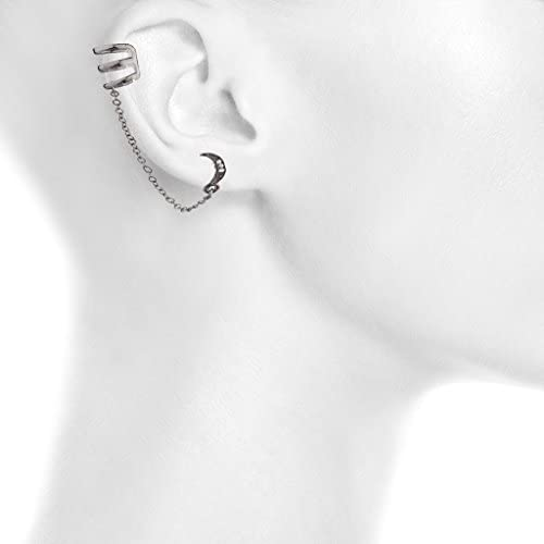 Lux Accessories Mood Galaxy Pave Crescent Moon Star Disc Ear Cuff Earrings Set