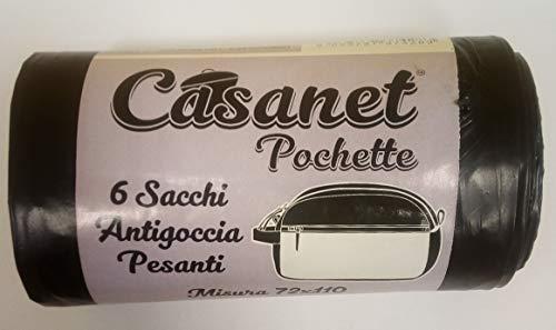 SACCHI CASANET POCHETTE PER SPAZZATURA - ANTIGOCCIA PESANTI - MISURA 72 x 110-4 CONFEZIONI DA 6 SACCHI cad.