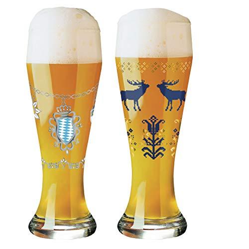 Ritzenhoff - Set di 2 Bicchieri da Birra Weizen Brandhofer e Interthal con 5 sottobicchieri, Collezione Herbst 2019, con detersivo da 50 ml