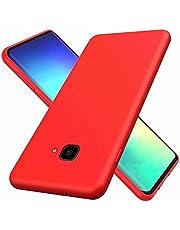 CRABOT Compatible con Samsung Galaxy J4 Plus Silicona Líquida Caso Cubierta de Goma Anti-caída Resistente a Los Arañazos Carcasa del Teléfono+1*(Protector de Pantalla Gratuito)-Rojo