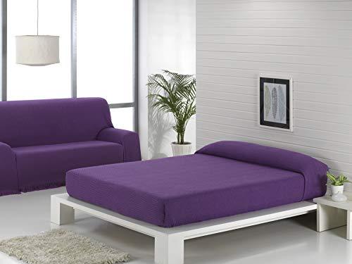 Regalitostv (230 Malva/Lila) SEDELLA* Colcha Multiusos Foulard Plaid Liso para Cama o sofá Garantizada Fabricado EN ESPAÑA (230_x_260_cm, Malva/Lila)
