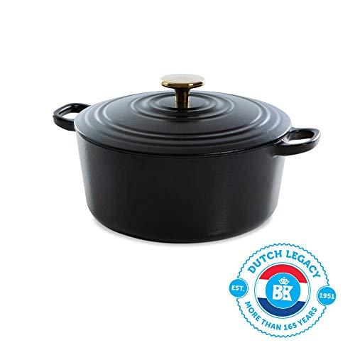 BK Cookware H6079.524 BK Bourgogne Dutch 24 cm/4,2 l, in ghisa, rivestimento smaltato, coperchio con anelli di gocciolamento, lavabile in lavastoviglie, colore nero
