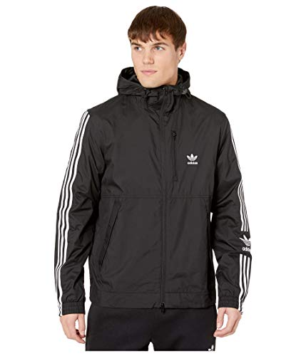 adidas Originals Men's Lock Up Windbreaker, Black, S