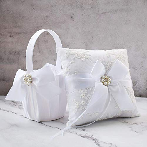 ATAILOVE Wedding Flower Girl Basket and Ring Bearer Pillow Set, Satin Bow Lace Rhinestone Collection (White)