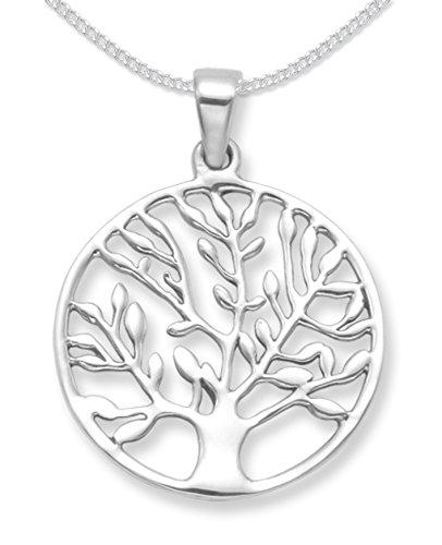 925 Sterling Silber Baum des Lebens Yggdrasil Anhänger mit Kette . Größe: 25 mm (34 mm einschließlich Anhänger oben) Geschenkbox. Bitte wählen Sie Kettenlänge unten