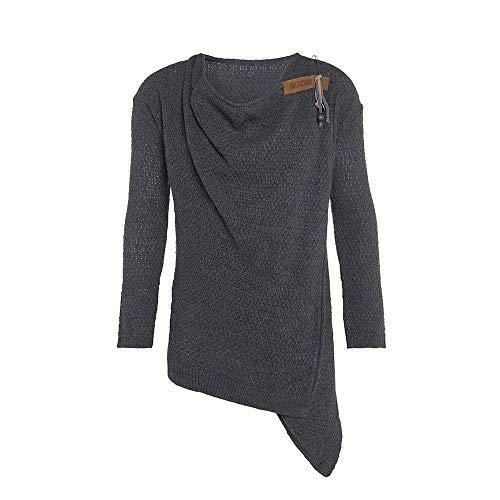Knit Factory - Emy Strickjacke - Mittellange Damen Wickeljacke - Cardigan mit Wolle - Hochwertige Qualität - Anthrazit - 40/42