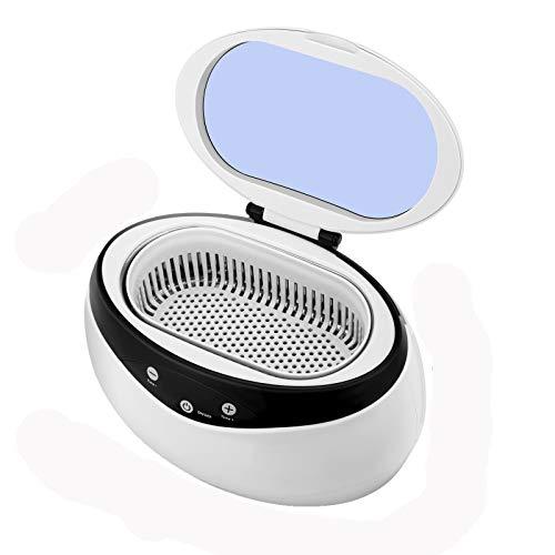 Kacsoo Máquina limpiadora de joyas de 650 ml, limpiador ultrasónico Baño ultrasónico con canasta de limpieza, máquina limpiadora ultrasónica con temporizador digital para gafas de joyería (650ml Mini)