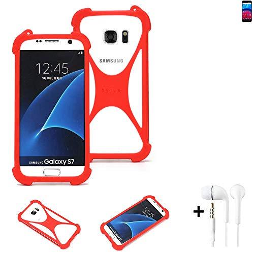 K-S-Trade® Handyhülle + Kopfhörer Für Archos Core 60S Schutzhülle Bumper Silikon Schutz Hülle Cover Case Silikoncase Silikonbumper TPU Softcase Smartphone, Rot (1x),