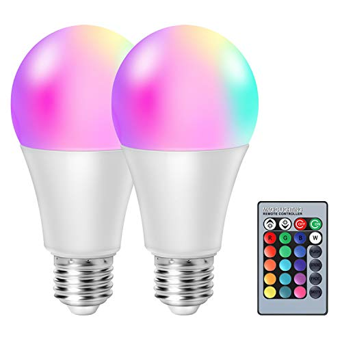 moinkerin 2 Piezas Bombilla LED E27 Regulable Bombilla LED Colores Bombilla RGB 10W(Equivalente a 60W) Función de Memoria de 16 Colores para el Hogar, Bar, Fiesta, Pub Iluminación Ambiental