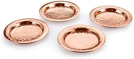 AVADOR Handcrafted Accessories Set of 4 100 Pure Copper Coasters with Hammered Finish for Home product image