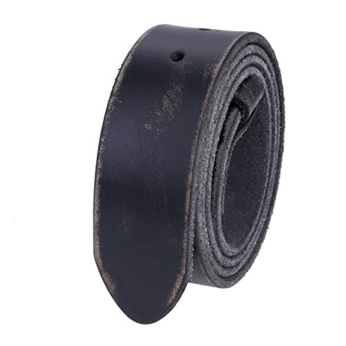 Unisex Full Grain Genuine Leather Distressed Black Belt Strap Without Buckle (38-40 (L))