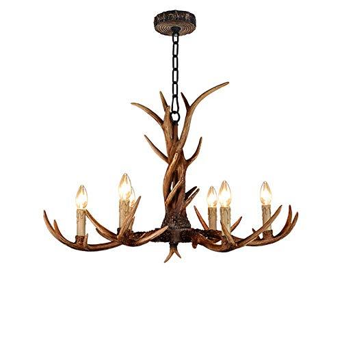 Moerun - Lámpara de techo de resina vintage de 32 pulgadas, 6 luces, hecha a mano, diseño de cuerno de ciervo, estilo rural americano, para comedor, sala de estar, bar, cafetería