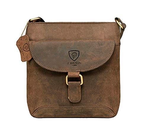 J Wilson London Sac à main en cuir véritable avec bandoulière et cuir de buffle vintage fait main Unisexe - Marron - Marron vieilli, Medium