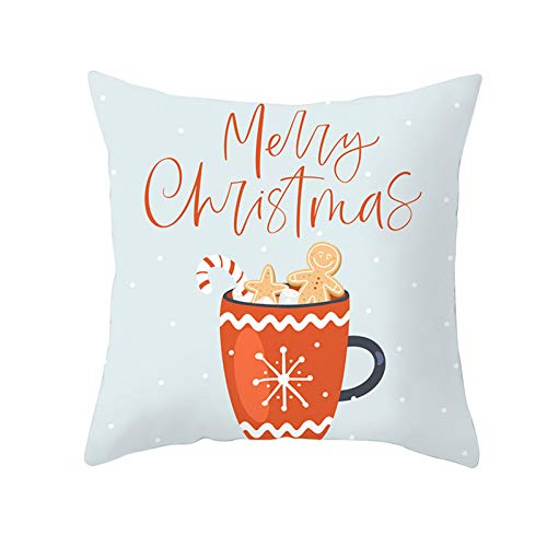 Jiaquhome Santa Claus Reindeer Christmas Pillow Cushion Covers Trees Gifts Cover Decorative Sofa Throw Pillows 2PC