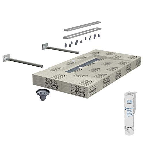 LUX ELEMENTS Waschtisch mit Linienentwässerung Fertig zum Verfliesen, LAVADO-FLOAT L, 117 x 58,5 x 10 cm LLAVE5005, Grau