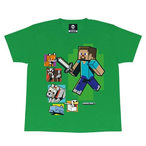 Minecraft Steve und Seine Freunde Jungen-T-Shirt Grün 140 | PS4 PS5 Xbox PC wechseln Gamer Geschenke, Tween Teen Schule Jungen Gaming Top, Kinderkleidung, Kindergeburtstags-Geschenk-Idee