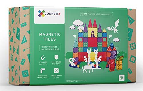 Connetix Magnetische Fliesen 100-teiliges Set | Stonger-Magnete zum Bauen von großen Spielzeugen | Offene Enden – fördern das Lernen und die Entwicklung durch Spielen | Dampf für Kinder