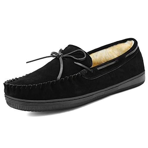 DREAM PAIRS Men's Fur-Loafer-01 Black Suede Slippers Loafers Shoes Size 12 M US
