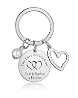 Aunt Keychain Gifts Aunt Nephew Keychain The Love Between Aunt and Nephew is Forever Pendant Keyring Birthday (Style 02-Aunt and Nephew)