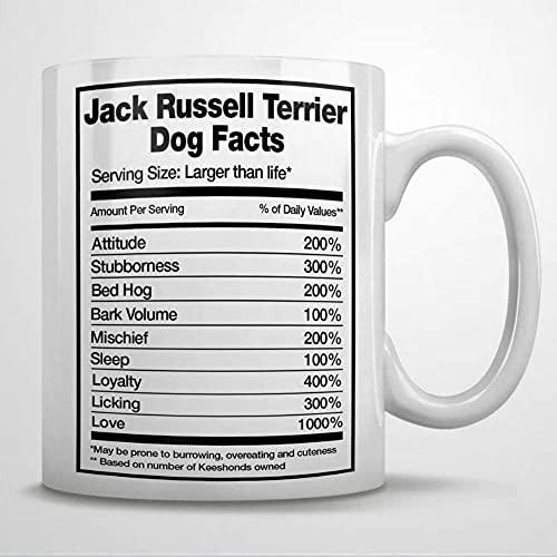 N\A Taza de café con Datos del Perro Jack Russell TerrierTaza de cerámica para la Oficina y el hogarLeche de téCumpleaños para Ella o él11oz