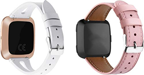 Simpleas compatible with Fitbit Versa Watch Strap, Top Leather Band Replacement Strap (2PCS C)