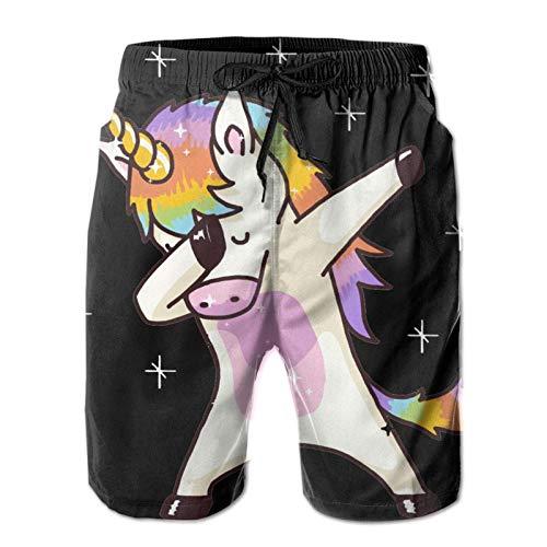 MayBlosom Weiche kurze Hose für Herren, schnell trocknend, kurze Hose mit Taschen, große und hohe Shorts, Einhorn-Design, niedliches Tupfen, lustiges Tanz-Geschenk, schwarz Gr. XL, mehrfarbig