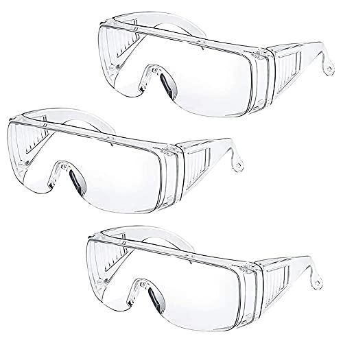 Clear Safety Work Globos Gafas De Seguridad Gafas Protectoras sobre Gafas Anti Gotita Gafas Protectoras Anti-Niebla Ojo De Polvo Gafas para El Lugar De Trabajo 3pcs
