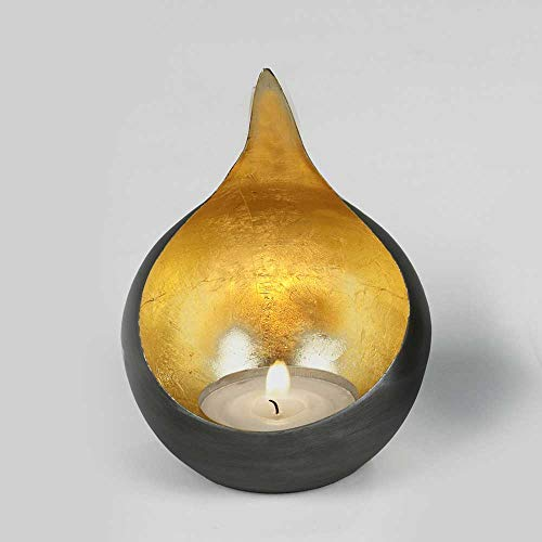 Lambert Windlicht Caldera klein schwarz-Gold